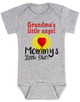 Mommy's little shit, grandma's little angel baby Bodysuit, Little shit baby onsie, funny grandparent baby Bodysuit, funny personalized grand baby gift, mimi's little angel, paw paws little angel, daddy's little shit, grey