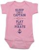 Sleep Like A Captain, Play Like a Pirate, wipe me booty, Aaaaar, Pirate baby, nautical onsie, Work Like a Captain Play Like a Pirate, Sailor infant bodysuit, pink