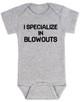 blowout specialist baby bodysuit, i specialize in blowouts, stylist baby gift, hair stylist baby, funny hair baby bodysuit, poop joke baby bodysuit, diaper blowout baby, future hair stylist baby, grey