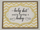 greeting card, handmade card, cool new parents, funny greeting card for baby, greeting card for baby gift, funny baby card, holy shit you're having a baby, Chevron