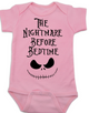 Nightmare before bedtime baby Bodysuit, funny christmas baby clothes, nightmare before christmas, jack the pumpkin king, pink