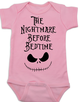 Nightmare before bedtime baby Bodysuit, funny christmas baby clothes, nightmare before christmas, jack the pumpkin king, pink