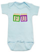 FU blocks baby Bodysuit, F you baby onsie, wooden blocks, rude blocks, offensive infant bodysuit, F bomb baby clothes, funny baby gift, blue