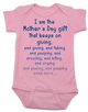 Mother's Day Gift That Keeps On Giving Baby Bodysuit, Mother's day gift from baby, unique Mother's Day gifts, Funny baby onsie for mother's day, pink