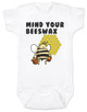 Mind your beeswax, mommy doesn't want your advice, mind your business, shut up new mom, funny baby clothes, angry bee funny baby gift, funny gift for new parents, white