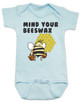 Mind your beeswax, mommy doesn't want your advice, mind your business, shut up new mom, funny baby clothes, angry bee funny baby gift, funny gift for new parents, blue