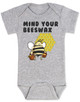 Mind your beeswax, mommy doesn't want your advice, mind your business, shut up new mom, funny baby clothes, angry bee funny baby gift, funny gift for new parents, grey
