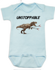 Unstoppable T-Rex dinosaur baby Bodysuit, T-Rex with grabbers, blue