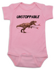 Unstoppable T-Rex dinosaur baby Bodysuit, T-Rex with grabbers, pink