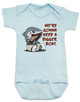 We're gonna need a bigger boat, Baby Jaws, shark eating boat, cute shark baby bodysuit, we are going to need a bigger boat, funny shark baby gift, growing family baby bodysuit, blue