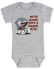 We're gonna need a bigger boat, Baby Jaws, shark eating boat, cute shark baby bodysuit, we are going to need a bigger boat, funny shark baby gift, growing family baby bodysuit, grey