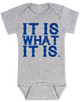 it is what it is, funny baby bodysuit, bad attitude baby, deal with it baby, rude baby bodysuit, badass baby, grey