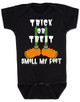 Trick or treat, smell my feet, halloween baby onesie, funny halloween baby, monster feet baby bodysuit, black