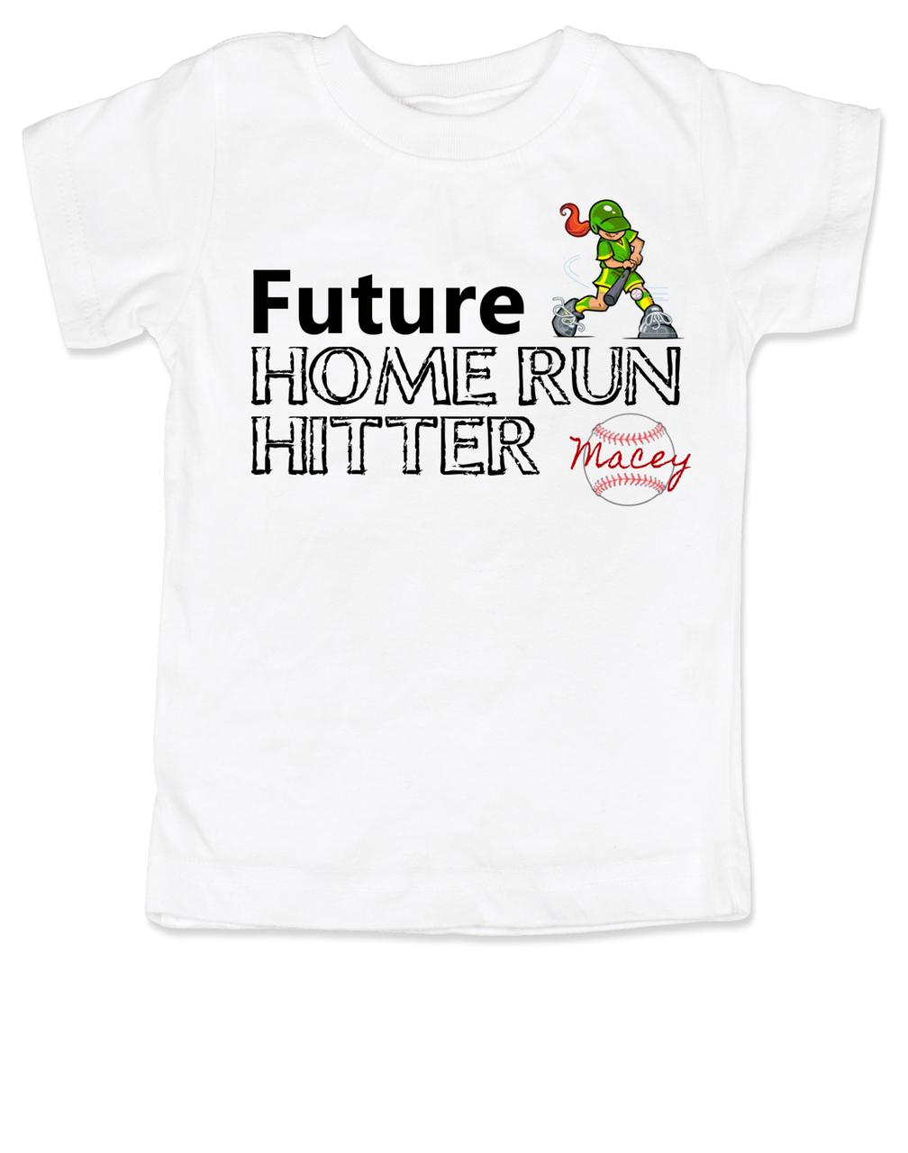 9ef683f8c Future Home Run Hitter toddler shirt, Future Baseball Player, Play Ball,  Girl Softball