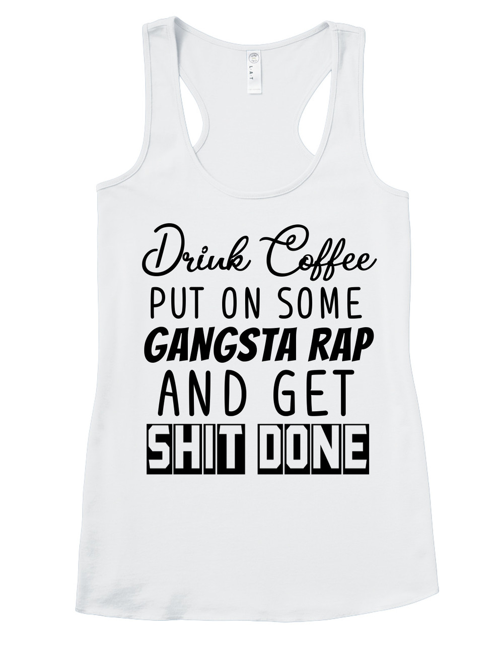 2994449403e Coffee and Rap - Ladies Adult Shirt or Tank Top