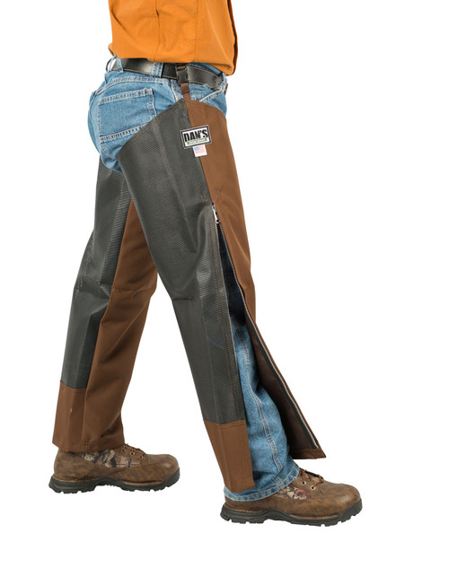 Dan's Hunting Gear - 612 Dog Days chaps - Briarproof - Windwalker Outdoors - Side w/zipper open