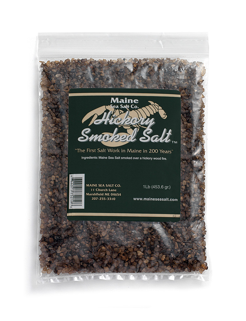 Hickory Smoked Maine Sea Salt (8 oz bag)  Cool Smoked Over Hickory Fire.  .83 WT