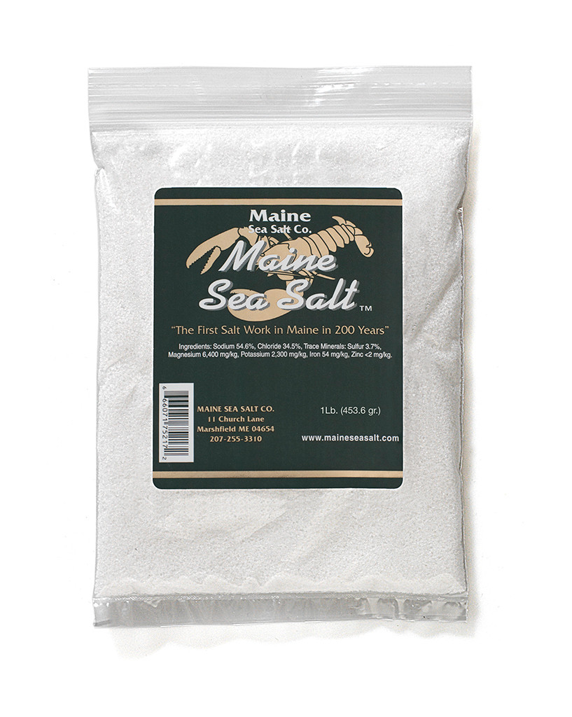 Maine Natural Sea Salt Bag  FINE SIZE 1 lb, Gourmet salt, solar evaporated, and no anti caking agents added. Use by the pinch, good for cooking, or at the table. Not fine enough or dry enough for a salt shaker.