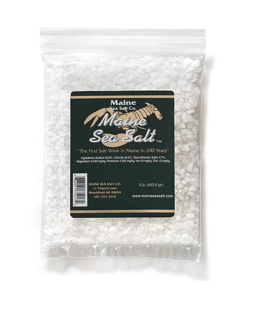 Natural Sea Salt 1 lb, Crystal Salt. Maine Sea Salt, Grinder Or Mill Refill.  Hand Harvested. 1 lb Zipper Bag. 1.25 WT Certified Kosher