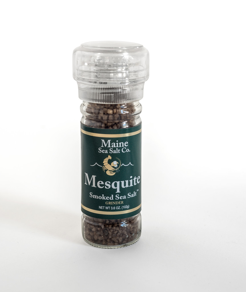 Mesquite Smoked Maine Sea Salt, 3.6 oz Grinder. Get Smoked Flavor With A Grinder.  .845 WT