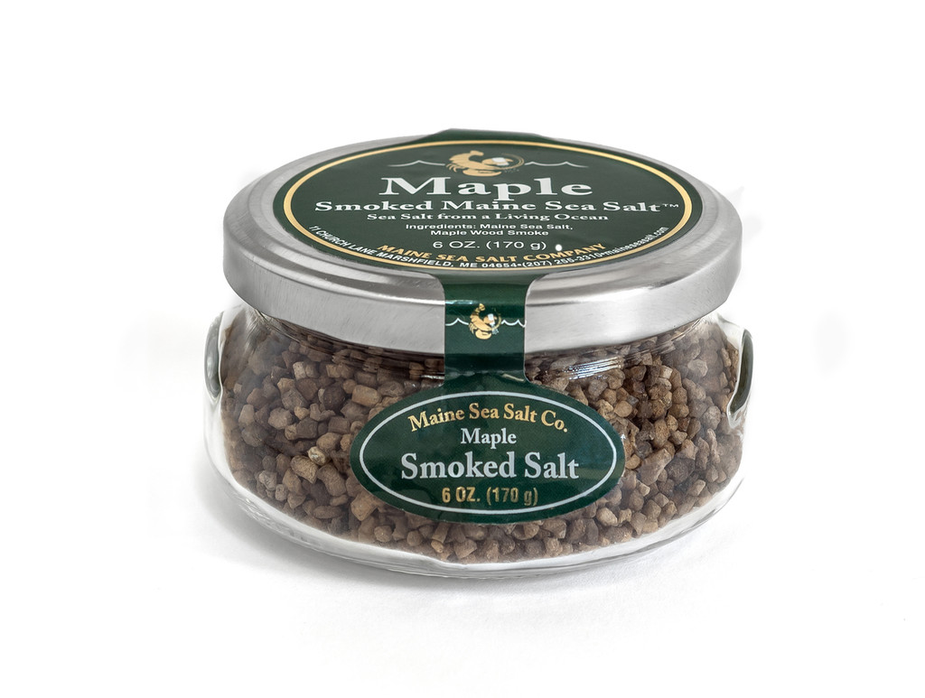Maple Smoked Maine Sea Salt, 6 oz Gift Jar. Smoking  Wood Sourced In Maine.