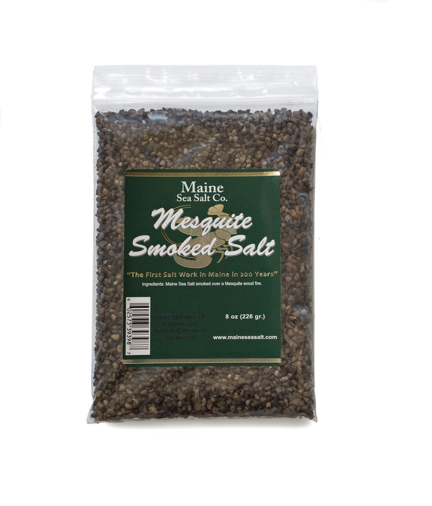 Mesquite Smoked Maine Sea Salt, 8 oz Bag, Great, Smoked Mesquite. .830 WT