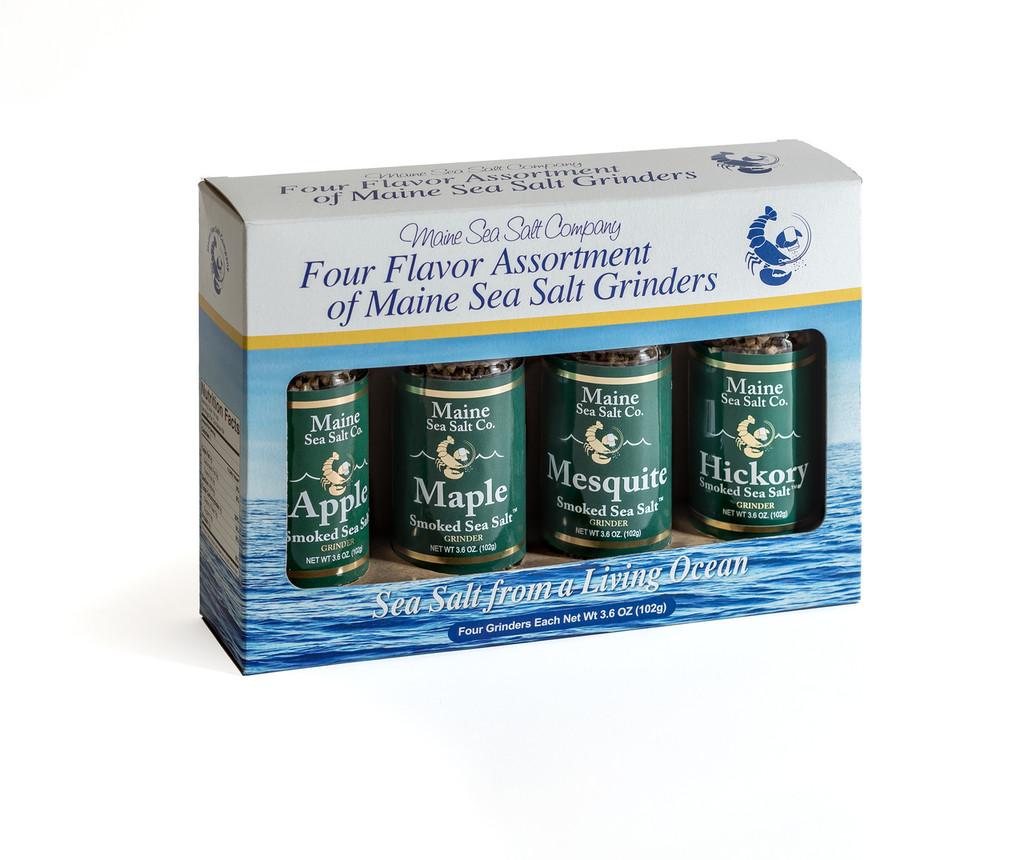 Smoked Maine Sea Salt Set of 4 Grinders 3.6 oz...Apple, Hickory, Maple, Mesquite Smoked Maine Sea Salt. Six to a case