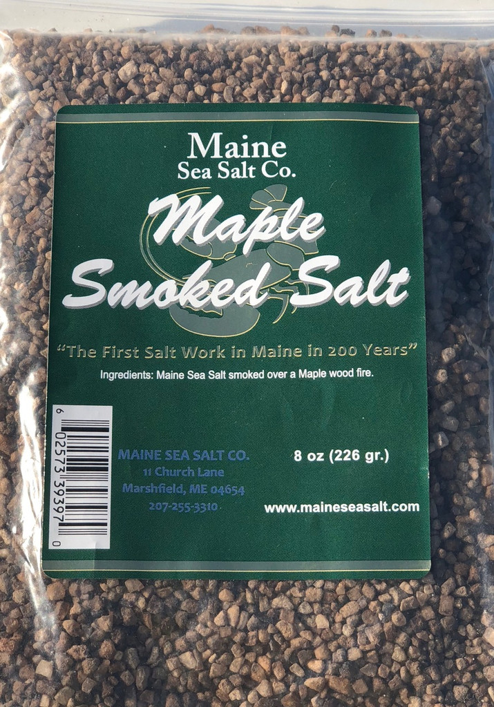 Maple Smoked Sea Salt, 8 oz bag, 6 to a case.