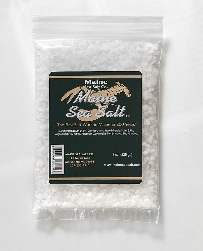 Natural Maine Sea Salt 8 oz bag CRYSTAL SIZE.  .83 WT  Certified Kosher
