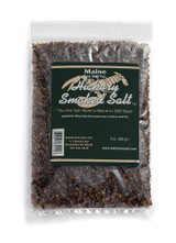 Hickory Smoked Maine Sea Salt, 8 oz re-closable plastic bag. Smoked over a Hickory fire for a clean smoky taste. Use Smoked Hickory Salt to make rubs, or to add a smoked flavor to any meal, particularly good with red meats.