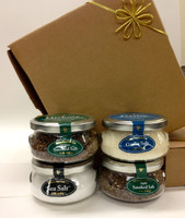 Gift Jar Collection. Four Of Our Most Popular, Natural, Garlic, Apple And Hickory Smoked  Salt.