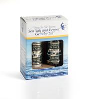 Maine Sea Salt & Peppercorn Grinder Set 3.6 oz and 2 oz Pepper Grinder  Six sets to a case