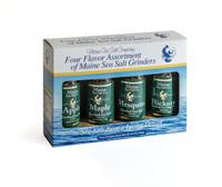 Smoked Maine Sea Salt Set of 4 Grinders 3.6 oz...Apple, Hickory, Maple, Mesquite Smoked Maine Sea Salt.