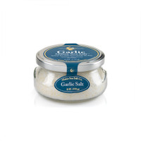 Maine Natural Sea Salt, and Roasted Garlic, shown in a 6 oz gift jar. Maine Sea Salt & Roasted Garlic is a natural Atlantic salt, and roasted garlic fresh dried. Use for Garlic toast, rubs, soups.