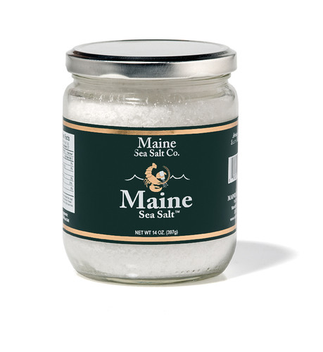 Maine Natural Sea Salt   Crystal, 14 oz, Crystal Sea Salt. Comes in a storable wide mouth glass jar. Consumer friendly, re cyclable. Our Natural Maine Sea Salt in a easy storage jar for the kitchen. A great value! Perfect size crystal for a grinder or salt mill. Solar evaporated and Hand Harvested on the Coast of Maine.
