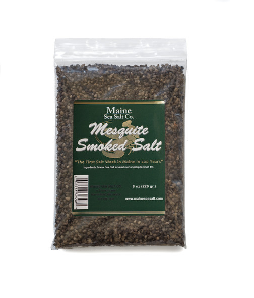 8 oz Bag, Mesquite Smoked Maine Sea Salt,  [SIX TO A CASE]  3.24 WT