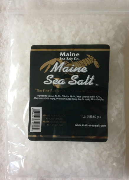 Maine Natural Sea Salt Bag 1 lb Gourmet Crystal salt, solar evaporated, and no anti caking agents added. Re closeable plastic bag. Maine Sea Salt crystals are the size of a pea, the right size for refilling a grinder, or a salt mill.