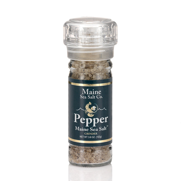 Maine Natural Sea Salt, and Pepper, shown in a 3.6 oz grinder. Maine Sea Salt & Pepper is a natural Atlantic salt, the Pepper is cracked and fresh dried. My salt grinder is refillable and recyclable.