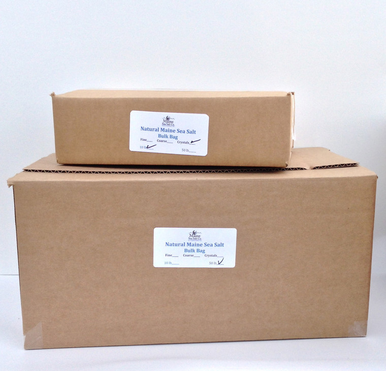 Natural Maine Sea Salt, Bulk 48 Pound Box  (fine). 50. WT  Certified Kosher