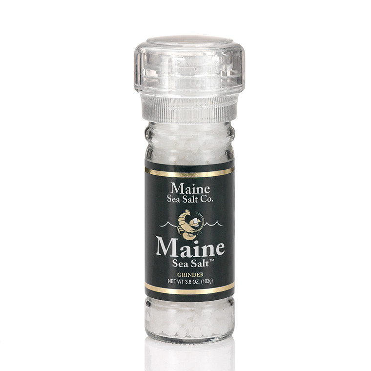 Maine Natural Sea Salt, shown in a 3.6 oz grinder. Maine Sea Salt, is a natural Atlantic salt, Solar Evaporated on the Maine coast. The salt grinder is refillable and recyclable.