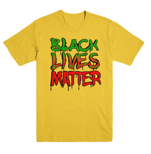 Black Lives Matter Yellow RGB Tee  #BlackLivesMatter Mural Design by Alex DeLarge, Co-founder of Southern Tiger Collective based in Charlotte, NC.  Mural Location:  @ NoDa Deli - 1721 North Davidson St. Charlotte, NC 28206