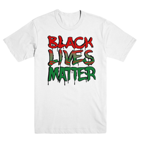 Black Lives Matter White RGB Tee  #BlackLivesMatter Mural Design by Alex DeLarge, Co-founder of Southern Tiger Collective based in Charlotte, NC.  Mural Location:  @ NoDa Deli - 1721 North Davidson St. Charlotte, NC 28206