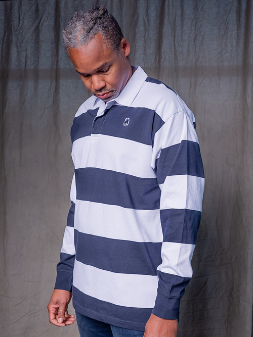 White/Navy Rugby Stripe Jersey