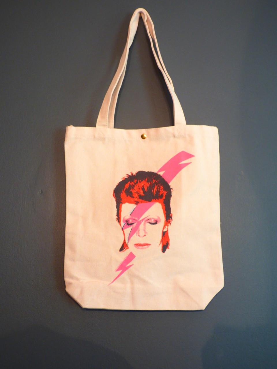 David Bowie Aladdin Sane blue pink lightening Lightning Bolt Tote Bag Black