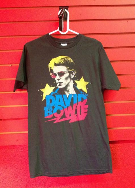 David Bowie Retro Stars Print T-Shirt in Dark Grey
