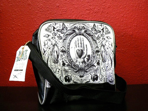 Gothic Black Victorian Heart in Hand Lunch and Liberty Shoulder Bag