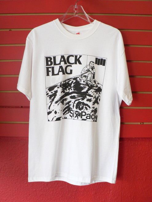 Black Flag Six Pack Single Cover Pack White T-Shirt