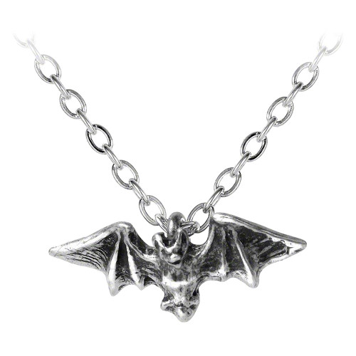 Kiss of the Night Bat Pendant English Pewter Necklace by Alchemy of England