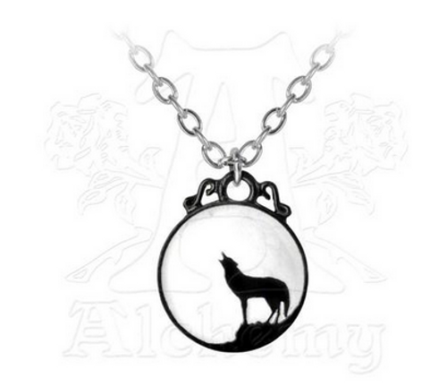 Alchemy of England Full Moon Wolf Pendant Necklace