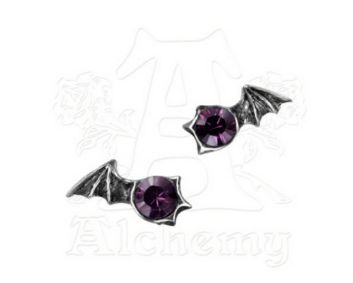 Alchemy of England Matins Purple Crystal Bat Wing Earrings